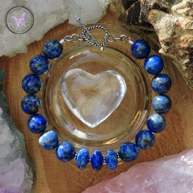Lapis Lazuli Bracelet with Silver Heart Toggle Clasp